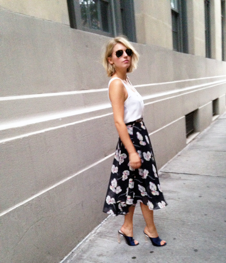 Ladylike skirt, Ann Taylor midi skirt, instaANN, Nina Ricci satin mules, white silk tank, belted cinched waist, summer nights, fashion over reason, street style