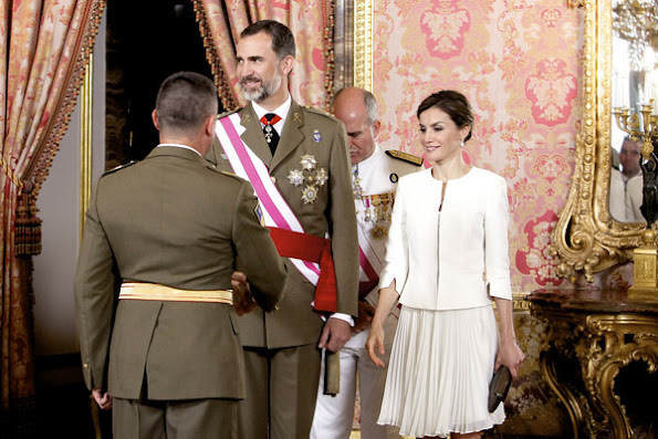 Queen Letizia of Spain attends 2015 Armed Forces Day oficial reception at the Royal Palace
