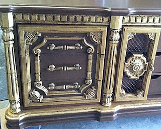 bronze and gold console, media console, gilded furniture, hollywood regency