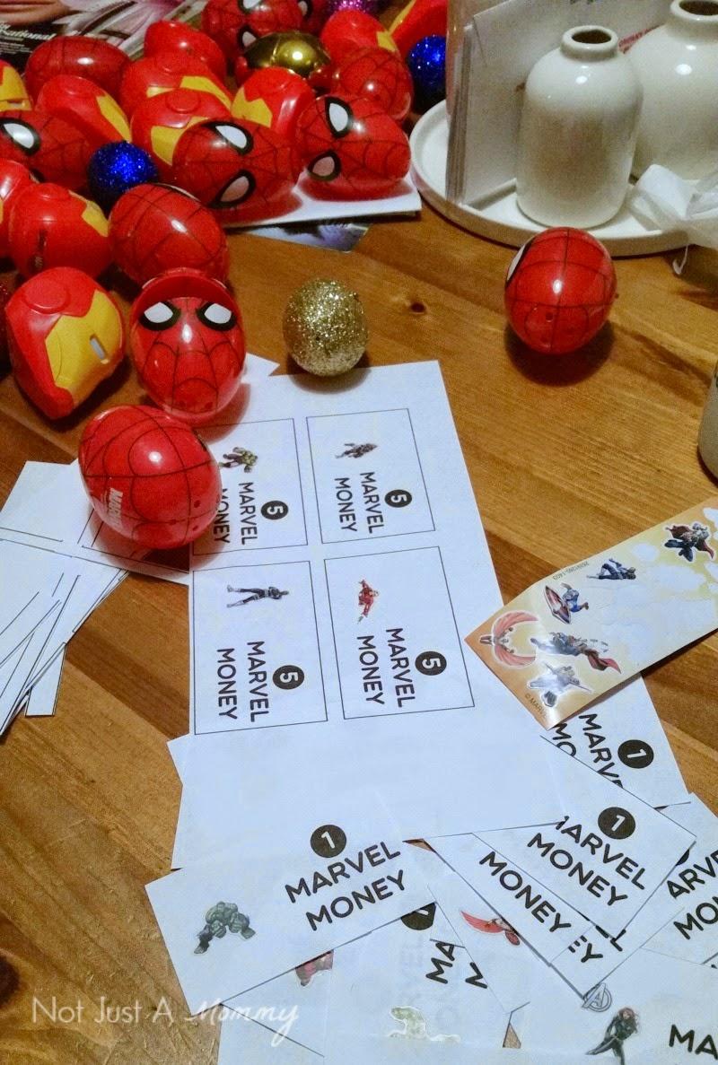 Disney Marvel Easter Egg Hunt; filling eggs with Marvel Money
