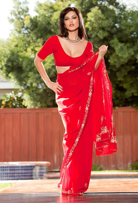 sunny leone | in red saree ss actress pics