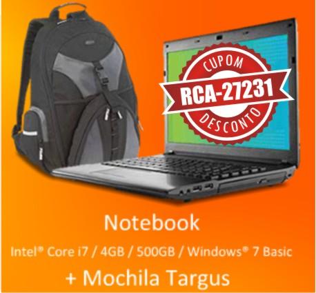 Cupom Efácil - Notebook Iron 745B+ Core I7 + Mochila Targus