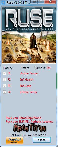 Ruse V1.0.0.1 Trainer +3 Steam MrAntiFun
