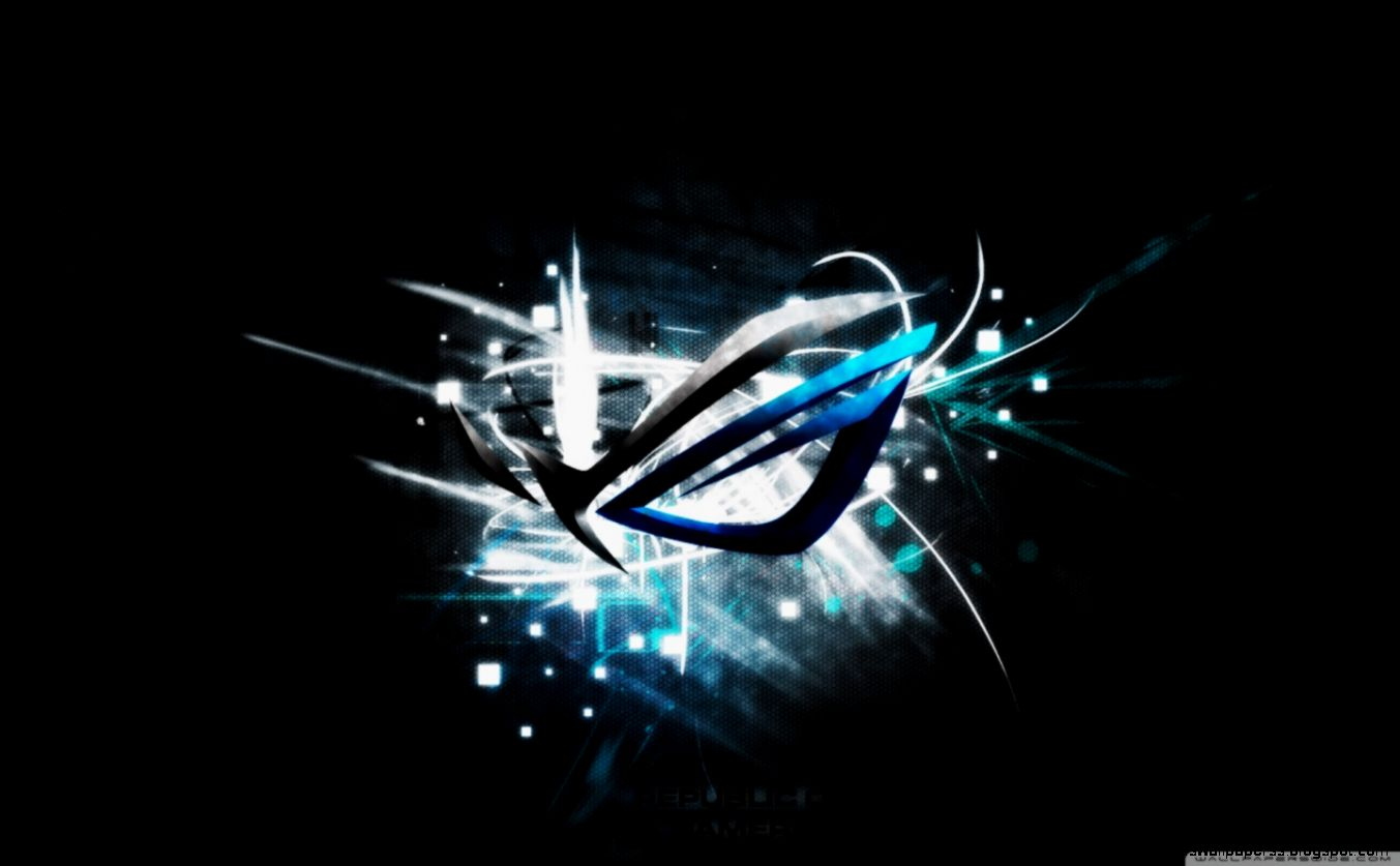 asus rog gamers blue logo wallpaper high definitions