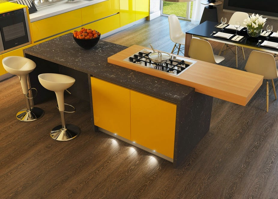 Kitchen yellow with black and wood floors