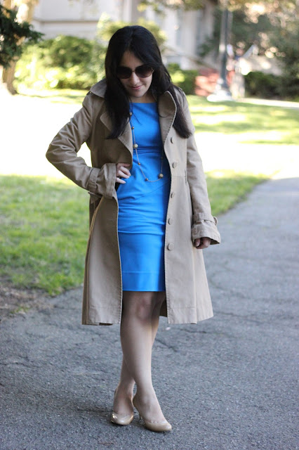 Trench and Blue Dress