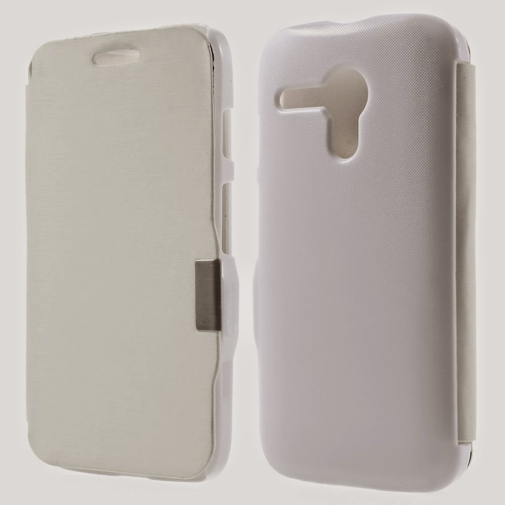 Leather-Case-Flip-Cover-Motorola-Moto-G-DVX-XT1032-White