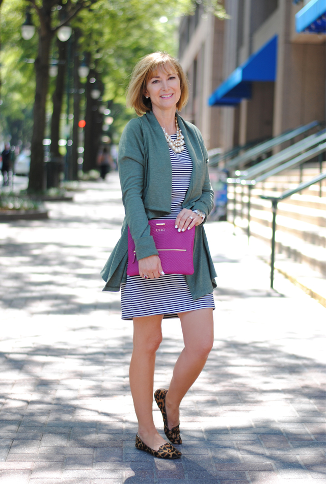 Striped dress with a pop of color