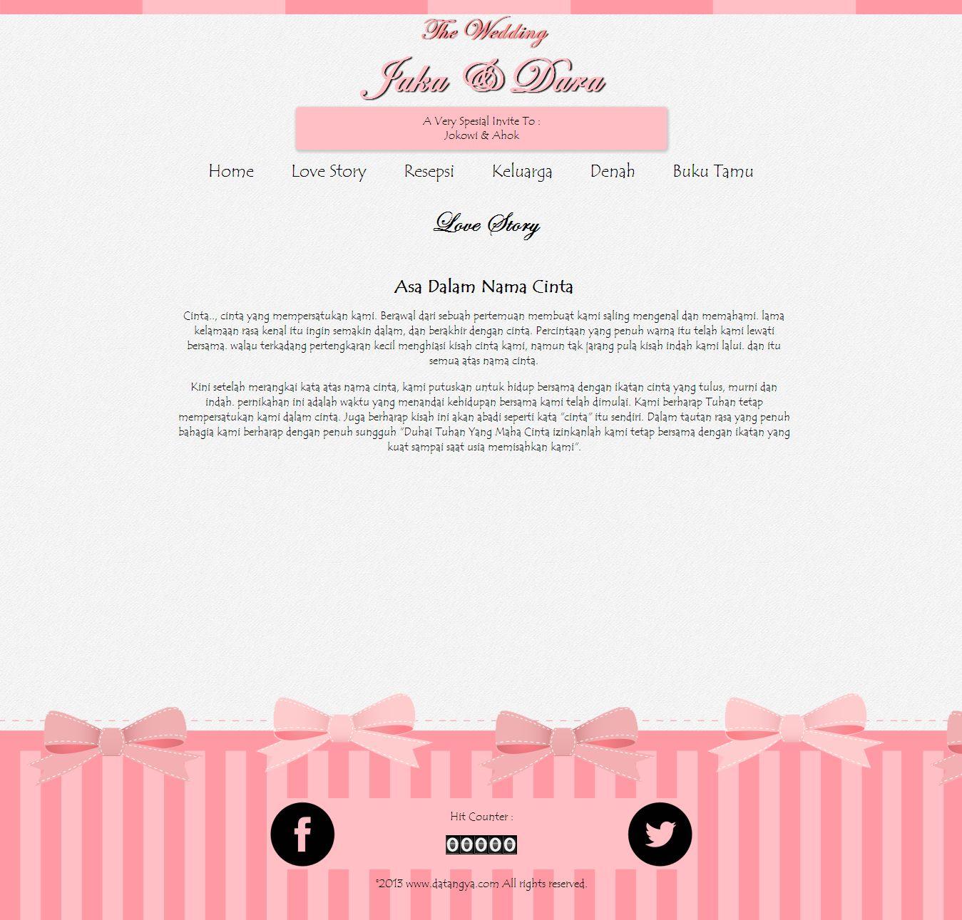 Desain undangan online Sweety - Datangya
