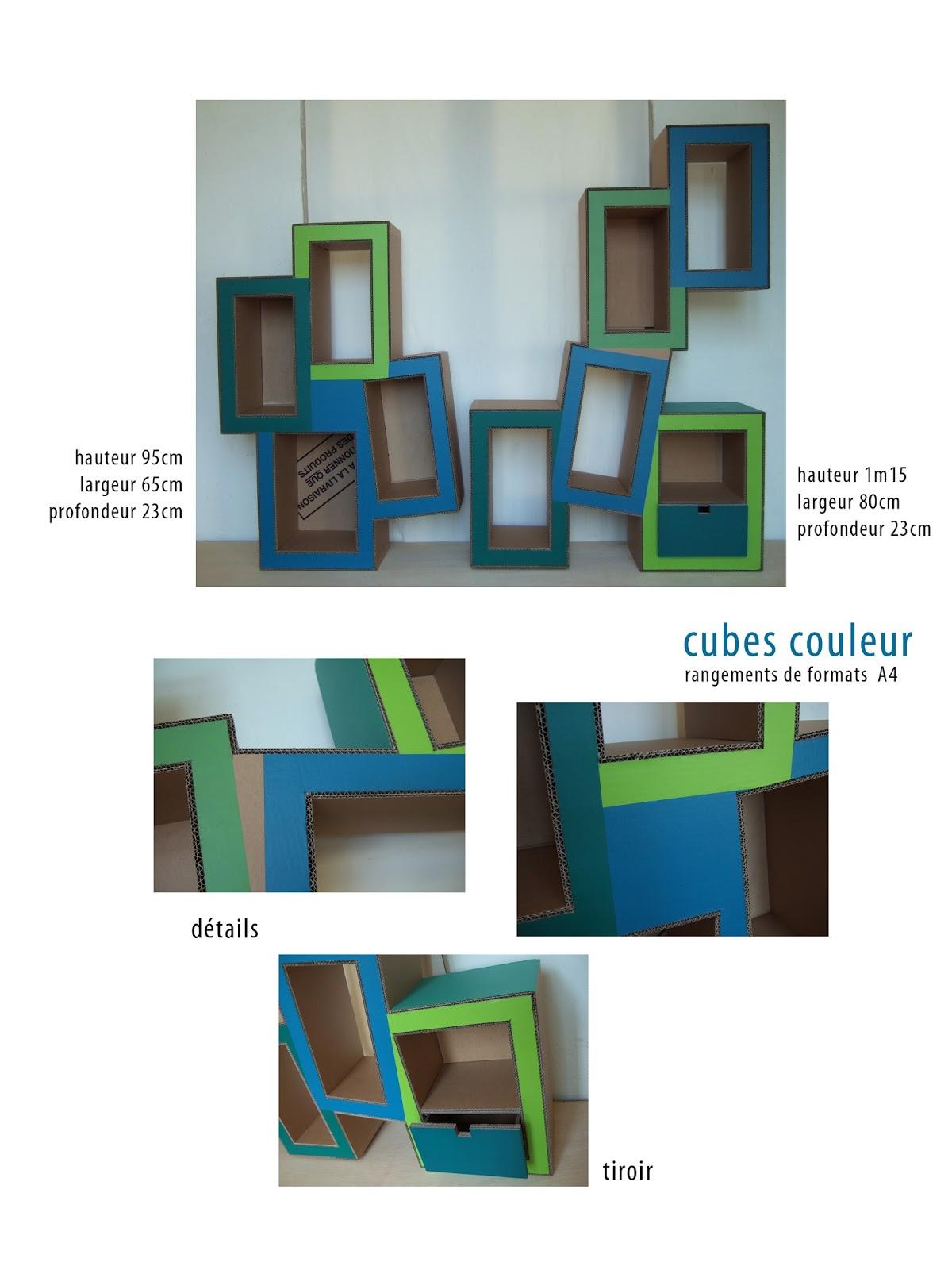 étagère en carton. création sur mesure. meuble en carton. fabriqué à marseille par juliadesign.
