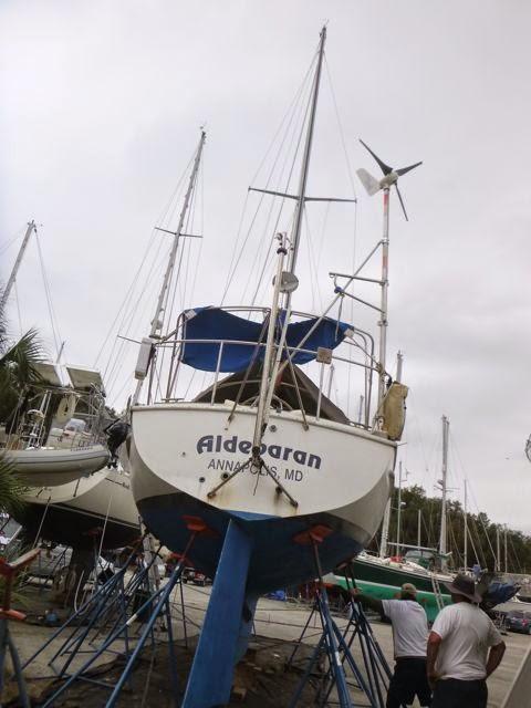 boat maintenance and repair in work yard