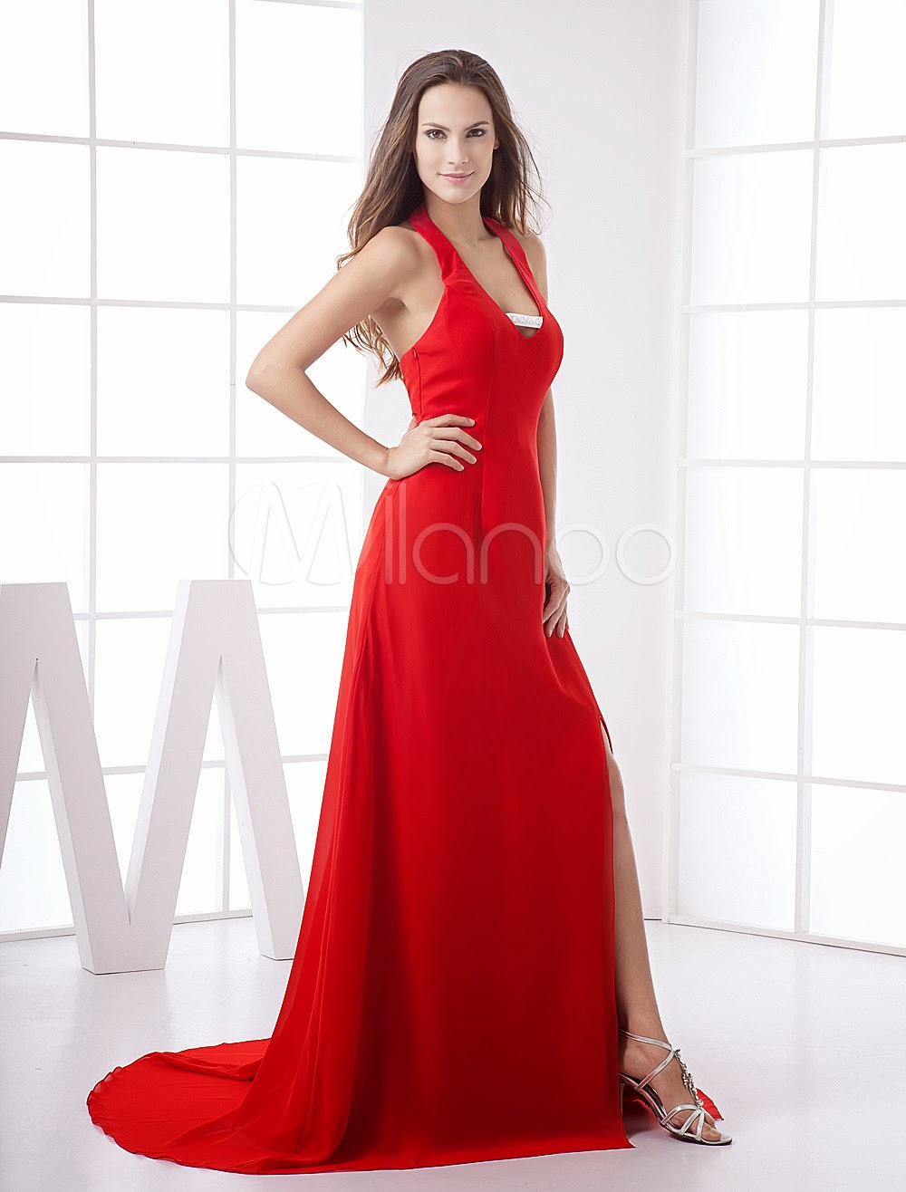 China Wholesale Dresses - Red Sheath Halter Sweep Chiffon Satin Evening Dress
