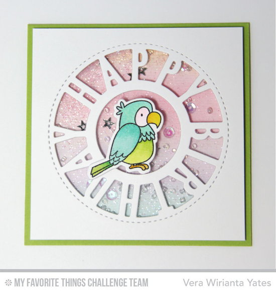 Birthday Birdie Shaker Card by Vera Wirianta Yates featuring the Birdie Brown Polynesian Paradise stamp set and Die-namics and the Birthday Centerpieces Die-namics #mftstamps