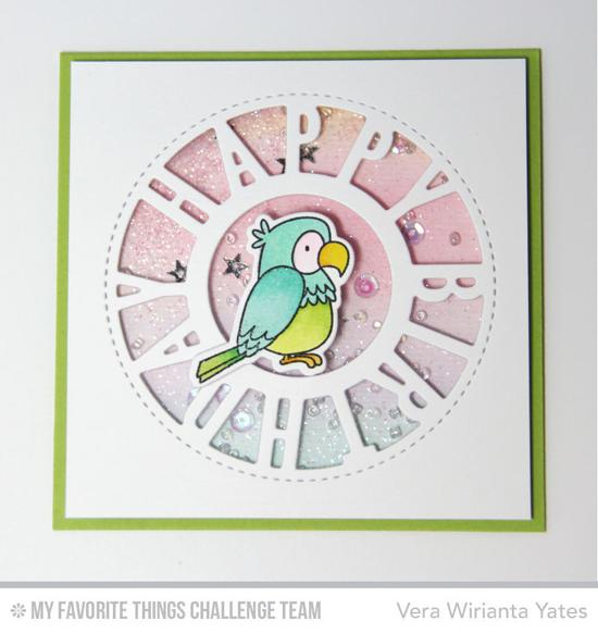 Birthday Birdie Shaker Card by Vera Wirianta Yates featuring the Birdie Brown Polynesian Paradise stamp set and Die-namics and the Birthday Centerpieces Die-namics #mftstamps