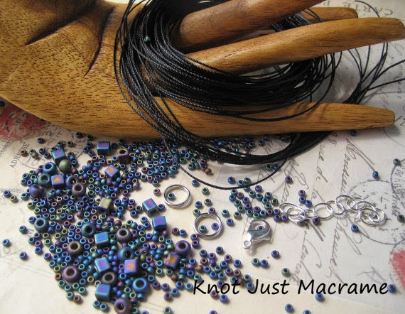 Cord and bead kit for Leaves Micro Macrame Bracelet tutorial by Sherri Stokey