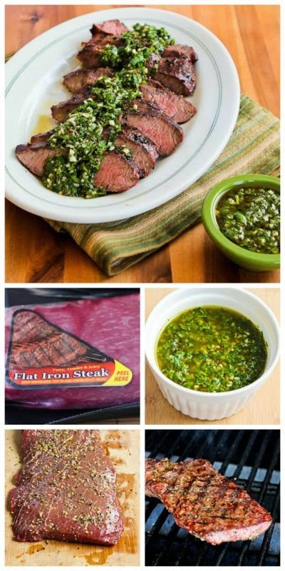 Grilled Flat Iron Steak Recipe with Chimichurri Sauce from Kalyn's Kitchen