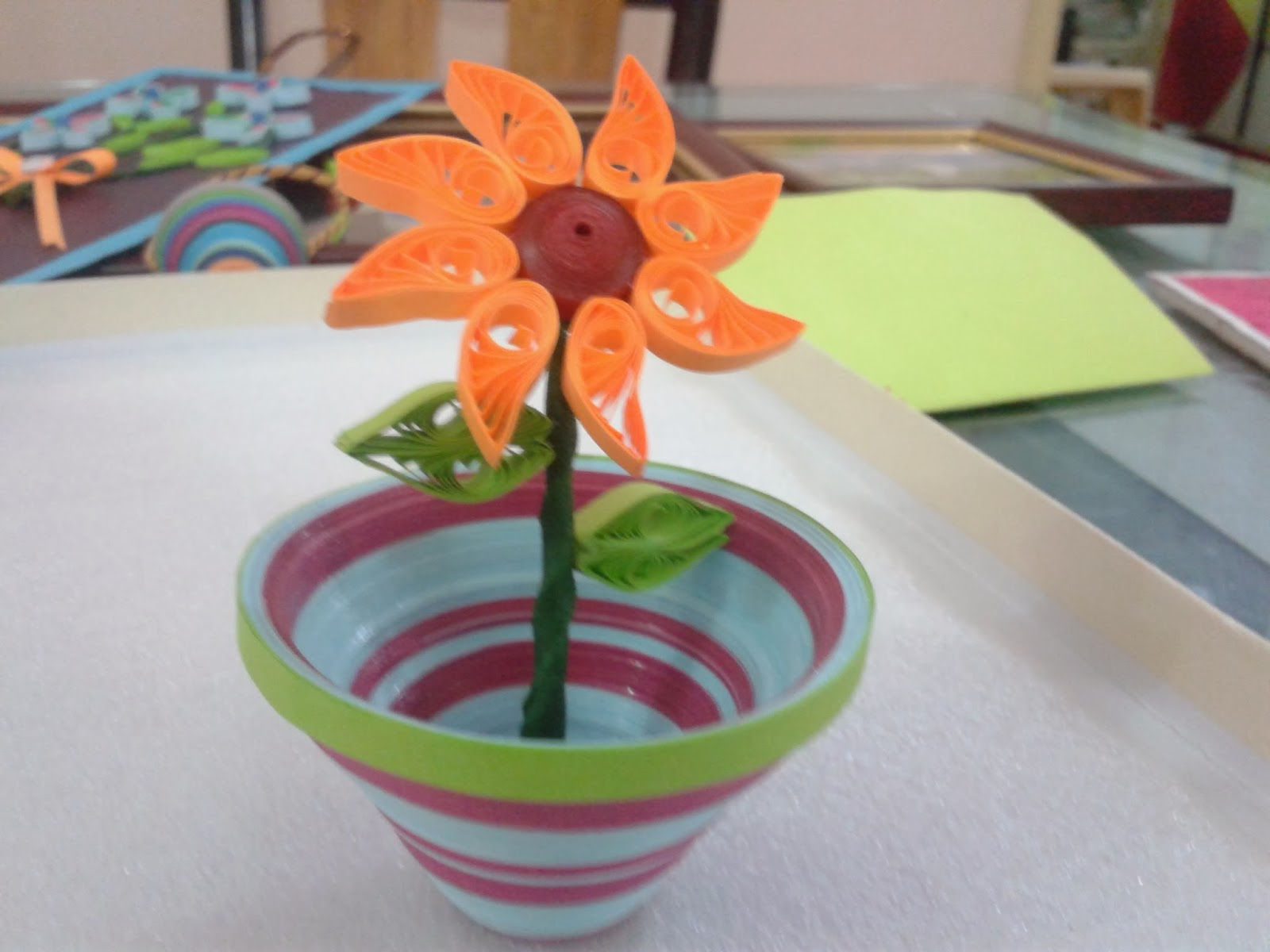 Awesome Paper Craft And Quilling With 3d Flower Vase