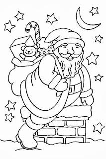 desenho papai noel na chamine