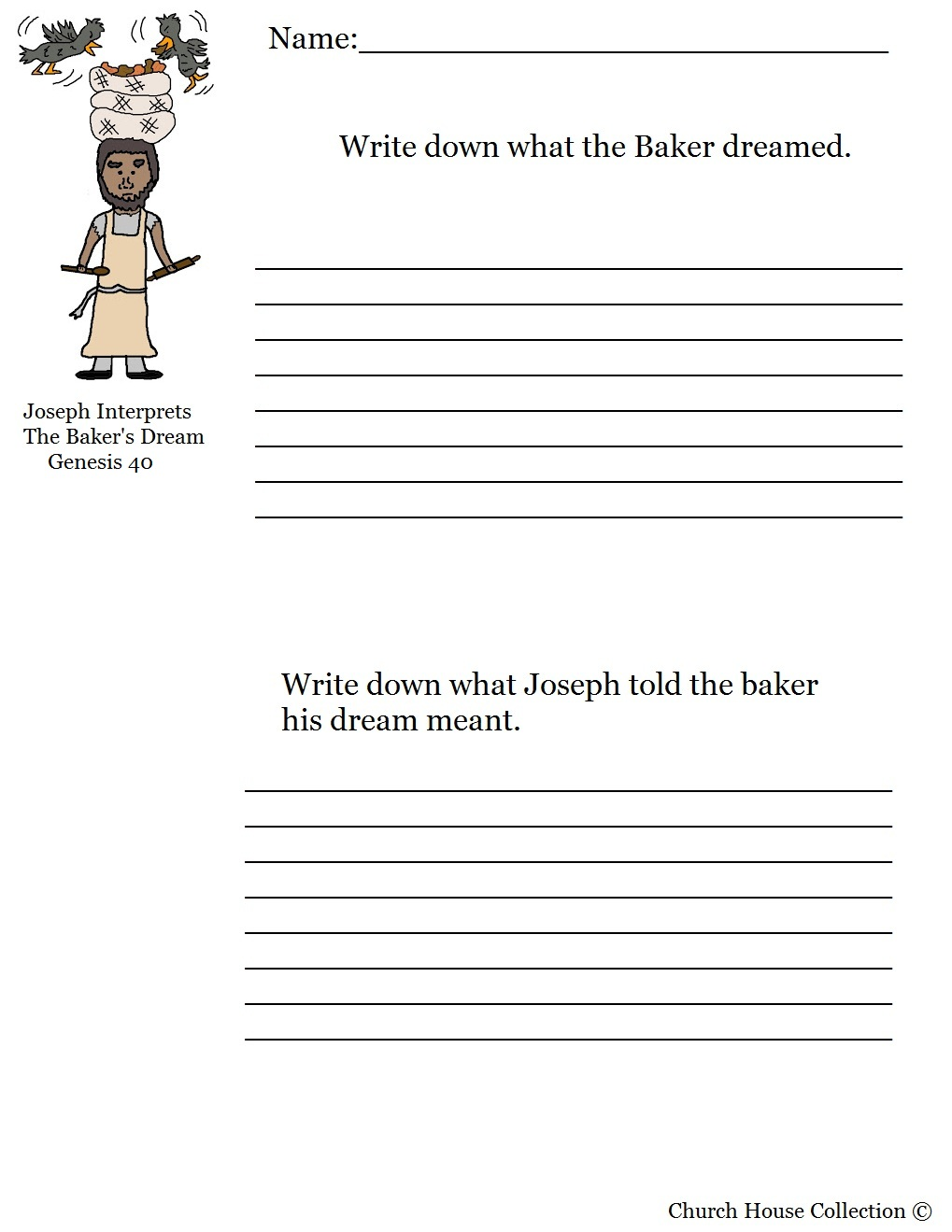Church House Collection Blog Joseph Interprets The Bakers Dream Activity Sheet For Sunday School