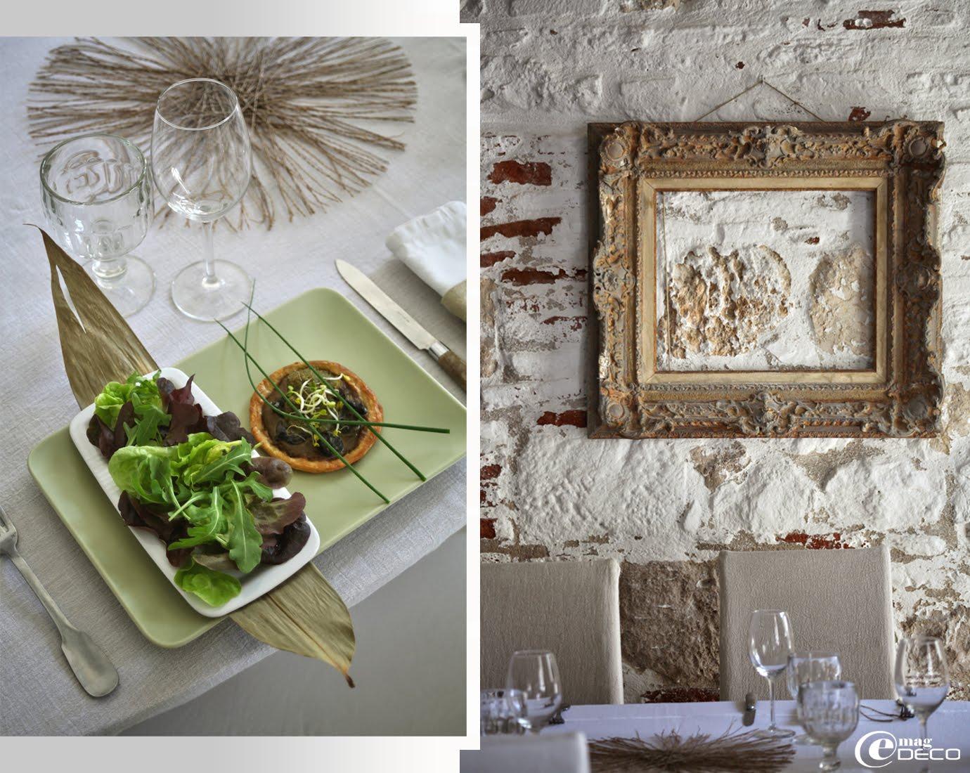Des plats décoré de feuilles de bambous ou de lotus dans le restaurant 'La Maison sur la Place'