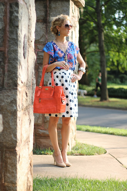 Ann Roth Shoes Bag, Steve Madden Shoes, J. Crew Dot Skirt, Anthropologie Skirt, Bauble Bar Earrings, the Queen City Style