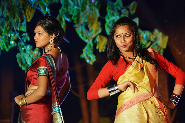 Models displaying Assamese 'mekhela sador' at Rongali Bihu festival in Bangalore (photo - Jim Ankan Deka)