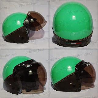 Policia Milk Green-Dark Brown Helmet + Mika Bogo