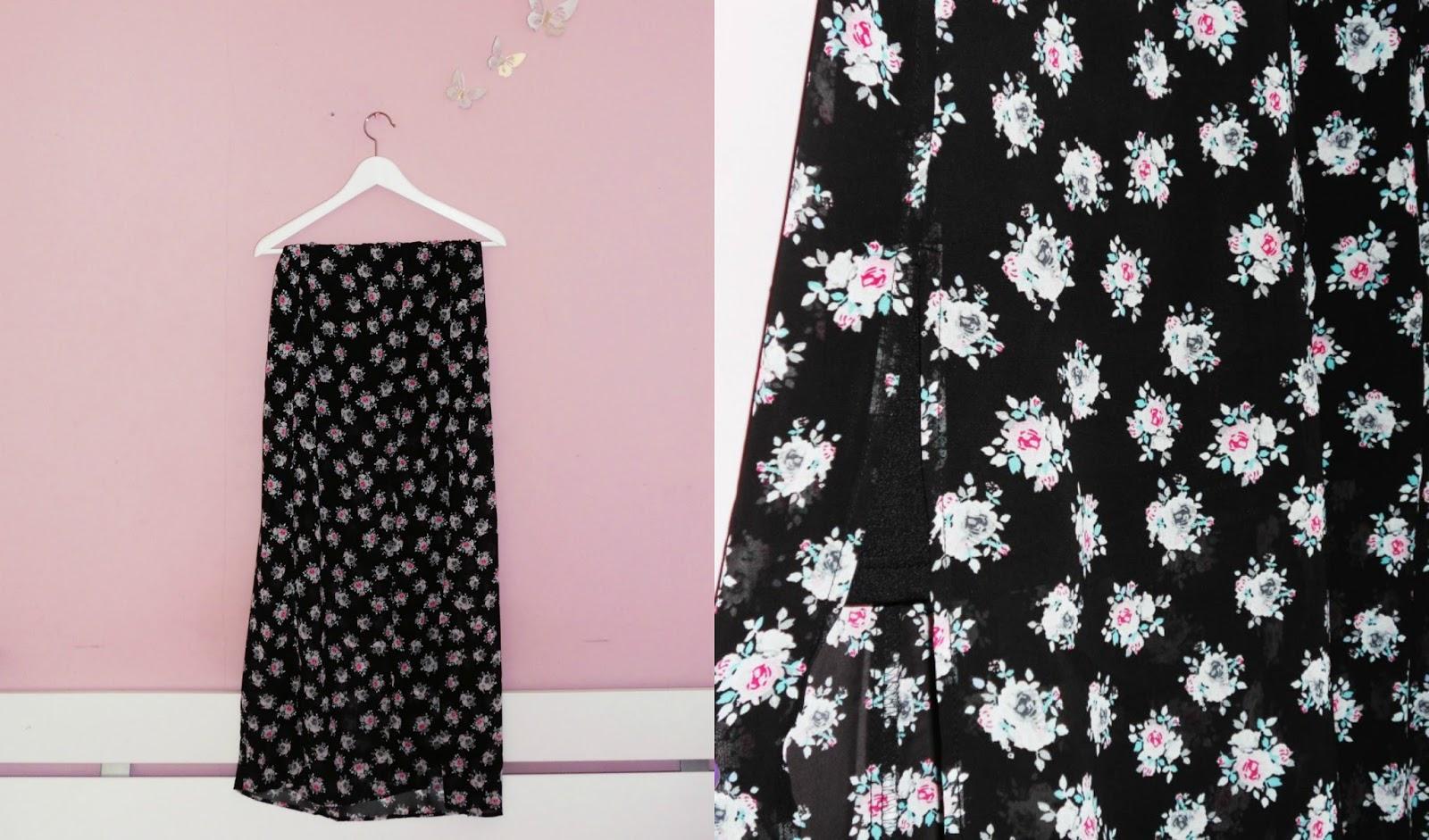 H&M black floral split maxiskirt