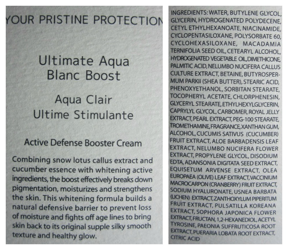 Racinne Ultimate Aqua Blanc Boost ingredients