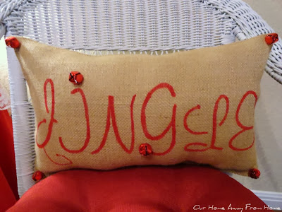 Stenciled Burlap Christmas pillows