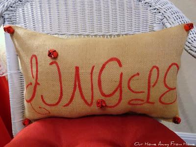 Stenciled Burlap Christmas pillows