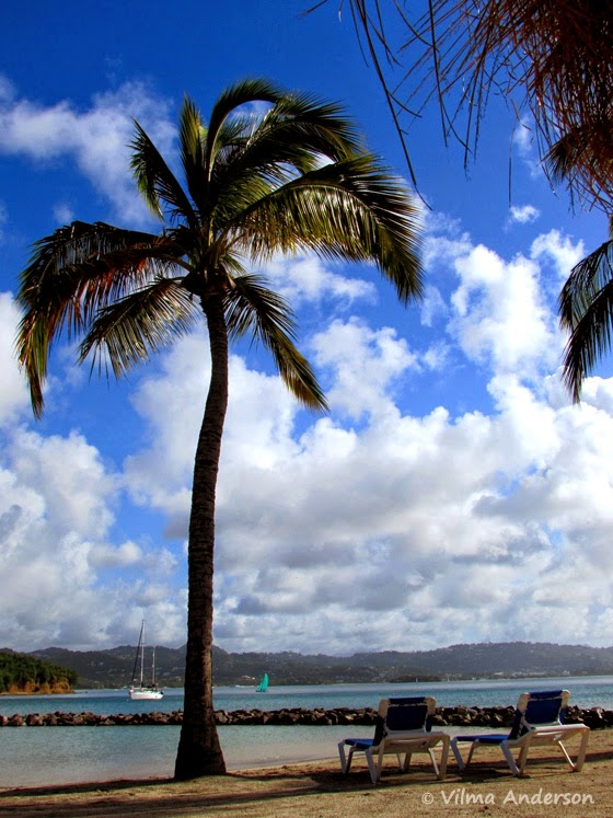 Ocean view from the beach at Windjammer Landing resort in St. Lucia