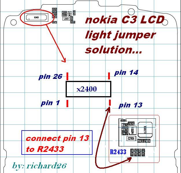 NOKIA C3 LCD Light jumper solution