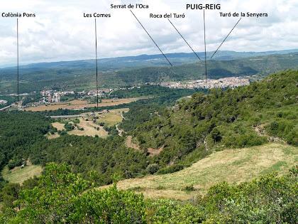 Puig-reig des de la cota 613 metres del Serrat de la Cua de la Guilla