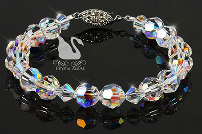 Swarovski Crystal Ice Round Beaded Bracelet (B098)