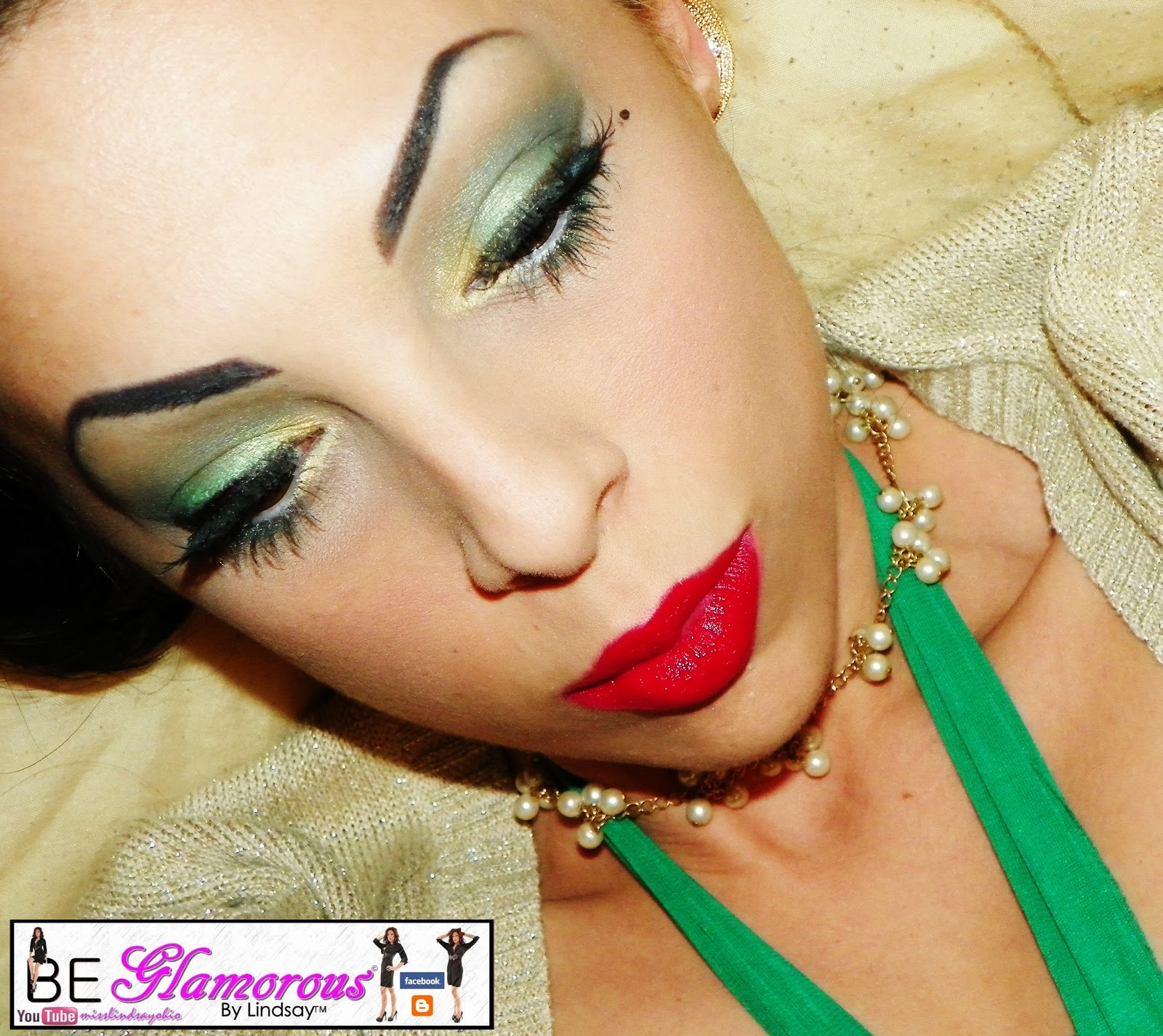 BE Glamorous By Lindsay: Green and Gold Holiday Makeup and Hair ...