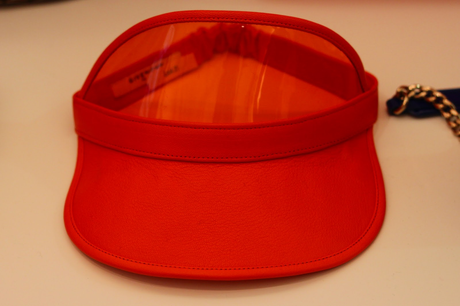 Givenchy orange plastic and leather visor