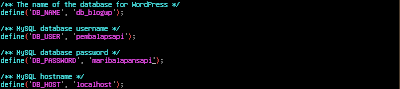 Konfigurasi database Wordpress