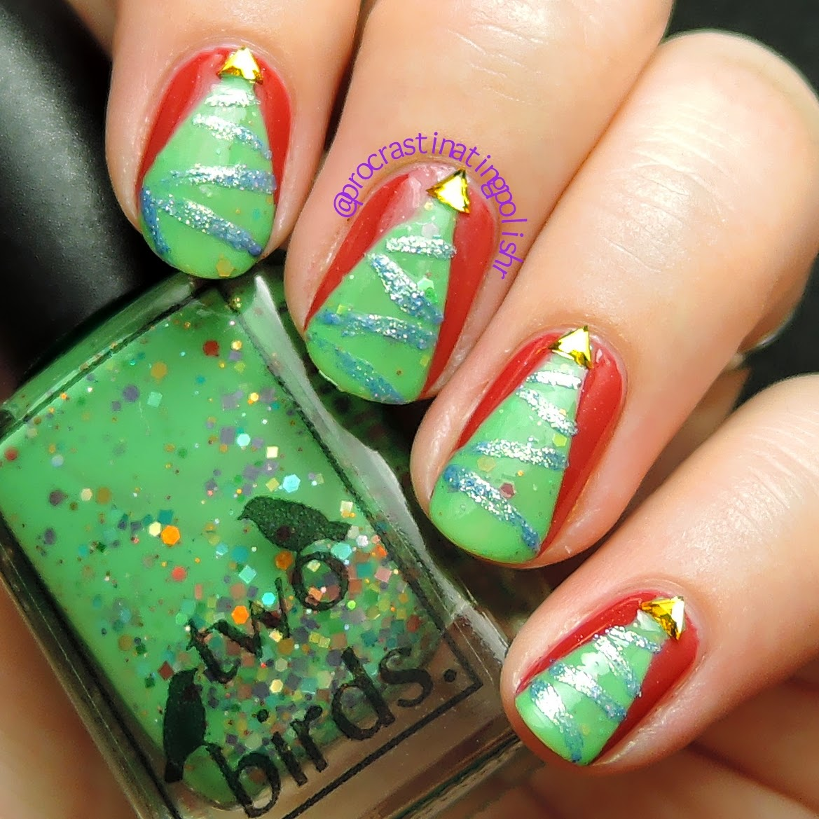 Two Birds Lacquer - Treenormous | Xmas nail art