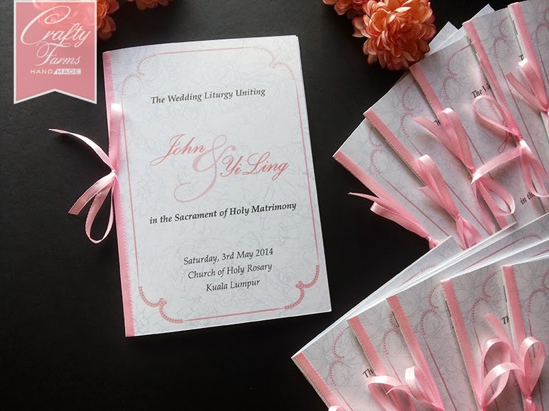 Church of Holy Rosary Kuala Lumpur Soft Pink Peonies florals Themed Church Wedding Program Booklet with Ribbon