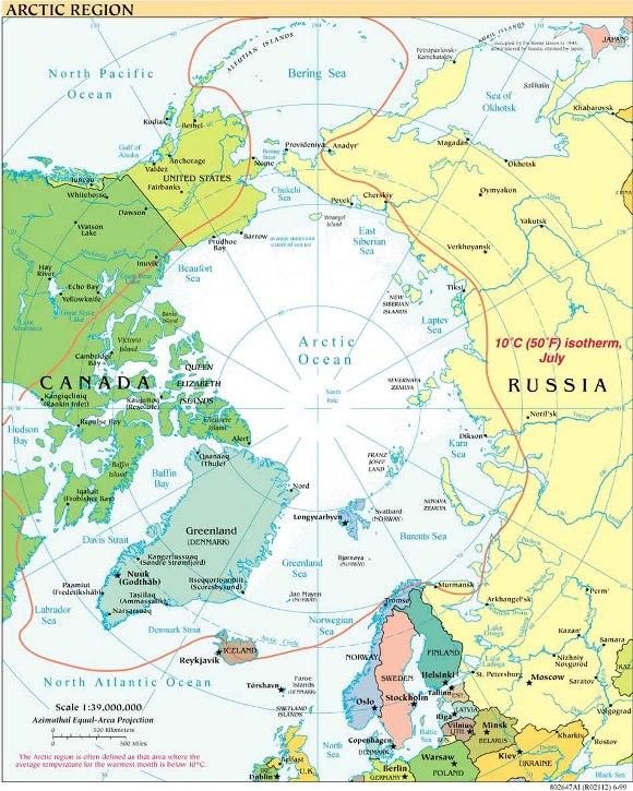 Amerika, Rusia, Kanada, Denmark, Norwegia