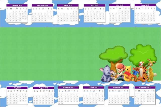 Calendario 2013 para imprimir gratis de Winnie de Pooh y sus amigos.