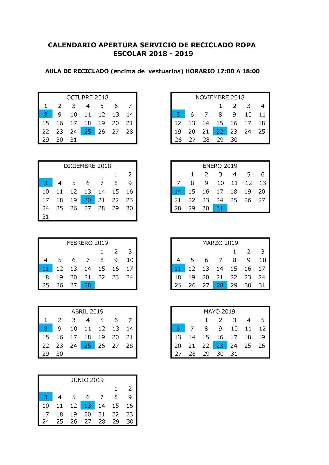 RECICLADO UNIFORMES 2018-2019