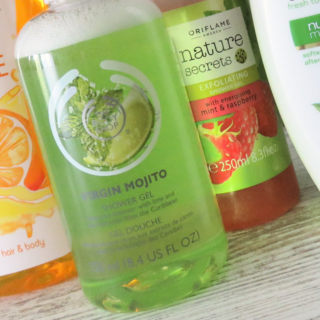 THE BODY SHOP Virgin Mojito shower gel, ORIFLAME exfoliating shower gel mint - raspberry