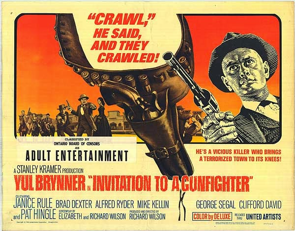 Invitation to a Gunfighter 1964 Film Poster Starring Yul Brynner