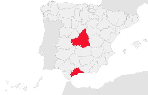 Madrid, Toledo y Malaga