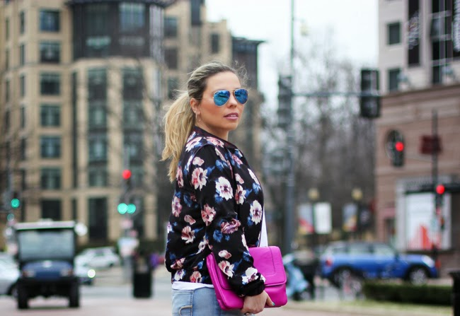 Flowered Print Silk Bomber Jacket from Zara