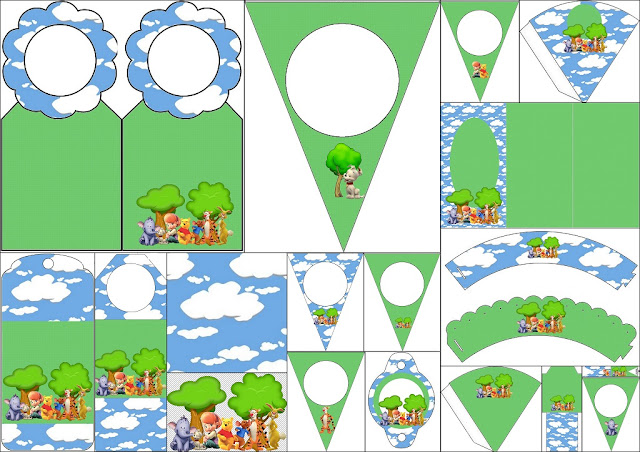 Winnie the Pooh: Imprimibles Gratis para Fiestas.