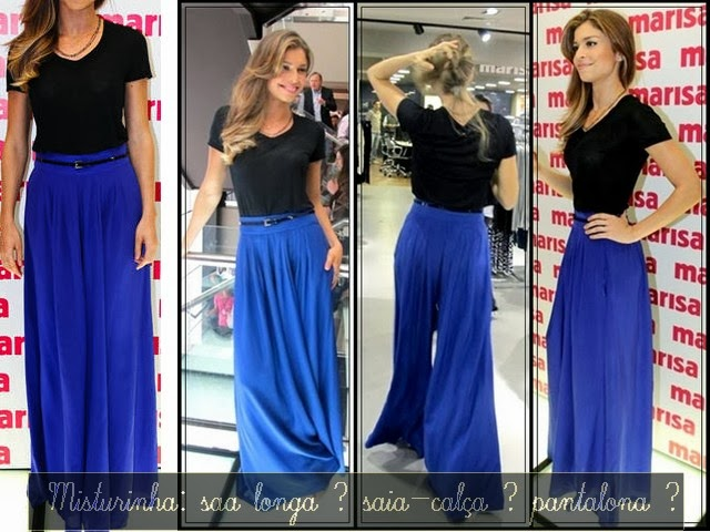 Pantalona ampla: mistura de saia longa
