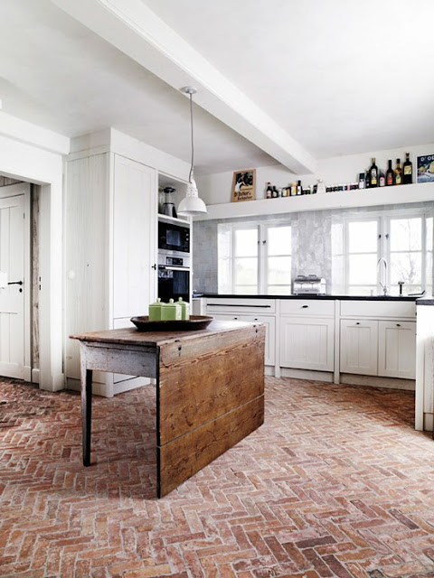 Herringbone Brick Floor Kitchen